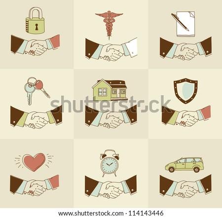 Vector set of doodle Handshake insurance icons - stock vector