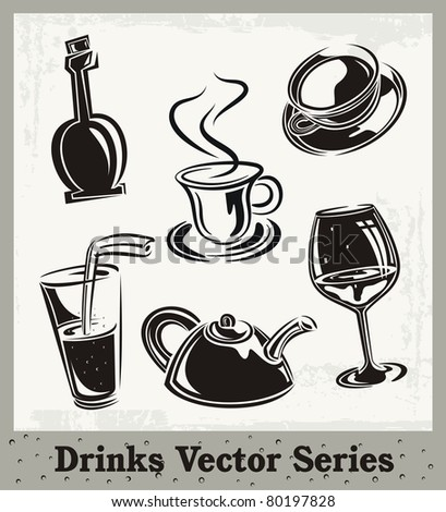 Vector set of drink and beverage illustrations in black and white. - stock vector
