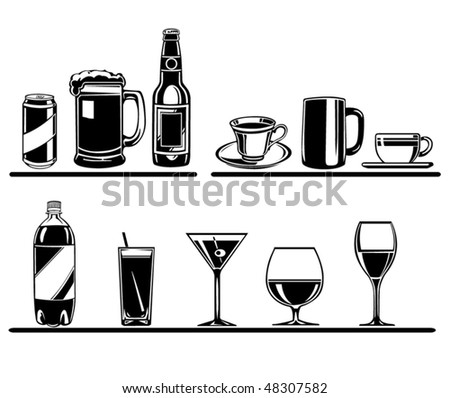 vector set of drinks - stock vector