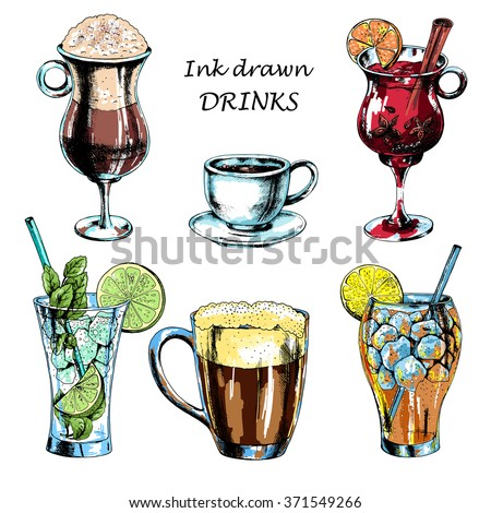 Vector set of  drinks: beer, mulled wine, mojito, long island, latte, espresso coffee. Hand drawn illustration in ink, sketch style. - stock vector