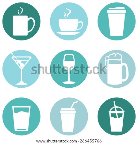 Vector Set of Drinks Icons. Tea, Coffee, Alcohol, Martini, Wine, Beer, Mineral Water, Fizzy Water, Smoothie, Cocktail. - stock vector