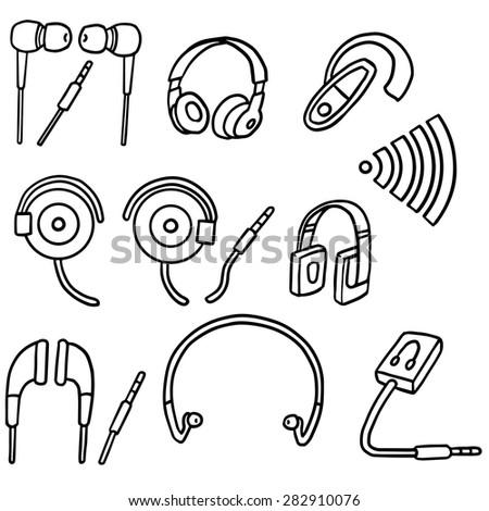 vector set of earphone - stock vector