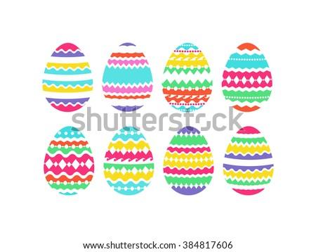 Vector set of easter eggs. Colorful easter eggs on white background. EPS 8. - stock vector