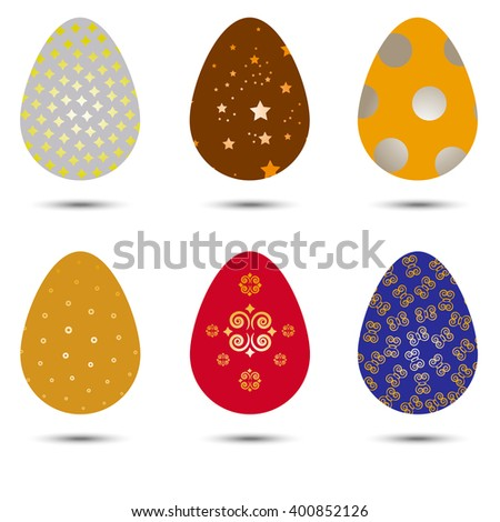 Vector set of Easter eggs of different colors - stock vector