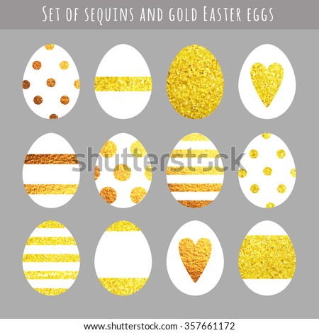 Vector set of Easter eggs with gold ornaments. Bright gold sequins as a decoration for eggs. Golden Easter eggs. - stock vector