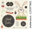 Vector set of easter ornaments and decorative elements, vintage banner, ribbon, labels, frames, badge, stickers. Vector easter element  with retro vintage styled design. Vintage easter bunny - stock
