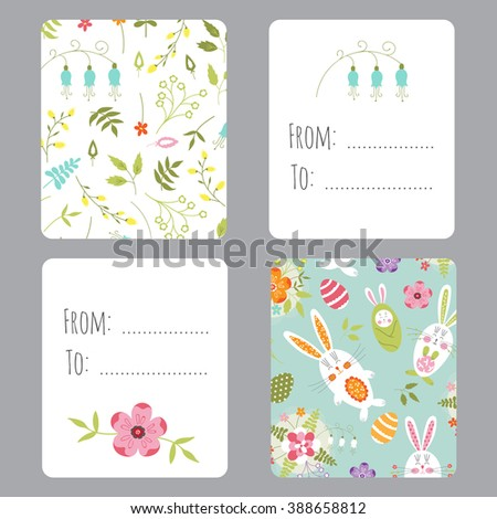 Vector set easter small cards funny stock photo photo vector vector set of easter small cards with funny bunnies and flowers colorful spring printable templates negle Images