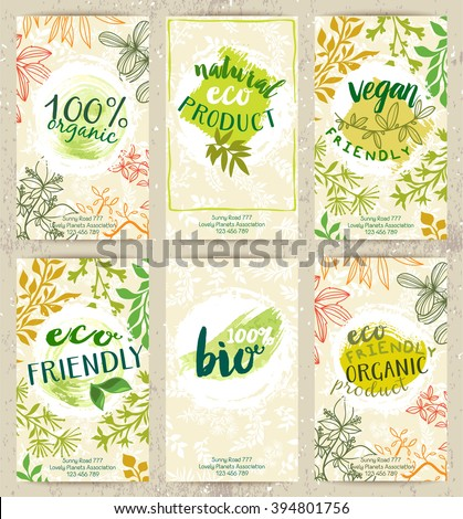 Vector set of eco friendly food labels on the stylish brochures. Packaging tags with fancy cards designs for bio, healthy products. Fresh ecological posters. - stock vector