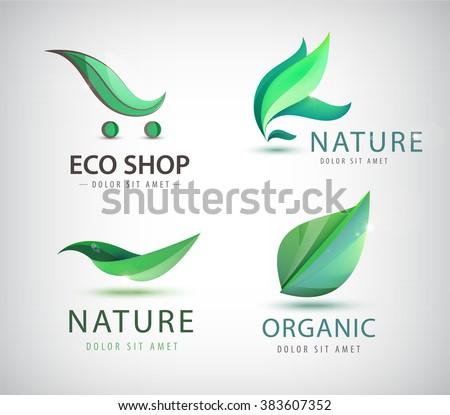 Vector set of eco logos, leaves organic nature logos. Bio energy organic shop logo, icon isolated. Green logos, healthy life - stock vector