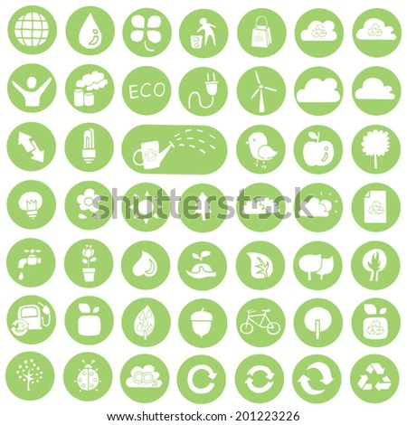 vector set of ecology and recycle icon - stock vector