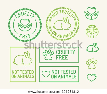 Vector set of ecology badges and stamps for packaging - not tested on animals and cruelty free - icons in trendy linear style - stock vector