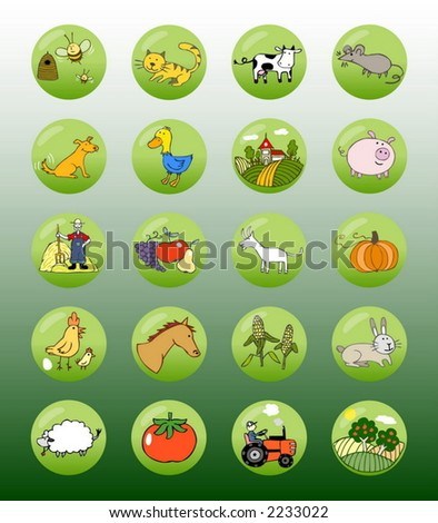 Vector set of editable icons, buttons and symbols (Farm) - stock vector
