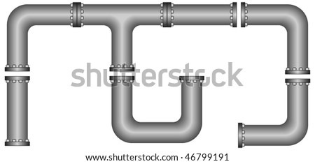 Vector set of editable pipes to assemble as desired - stock vector