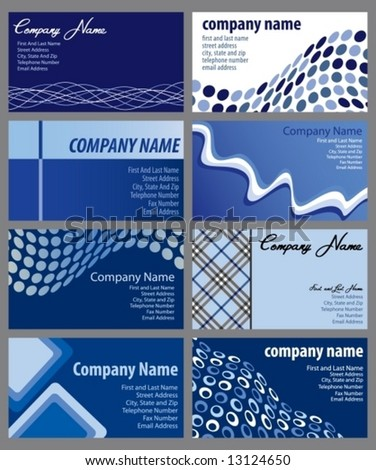 Vector set of eight business card designs
