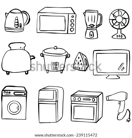 vector set of electrical appliance - stock vector