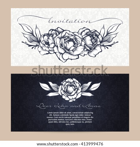 Vector set of elegant backgrounds with flowers and calligraphy. Sketch roses and branches. Blue and white floral design. Invitation, wedding invitation, greeting card, holiday background, packaging  - stock vector
