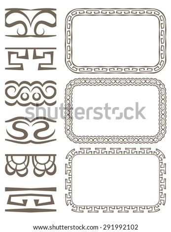 Vector set of elegant borders and frames - stock vector