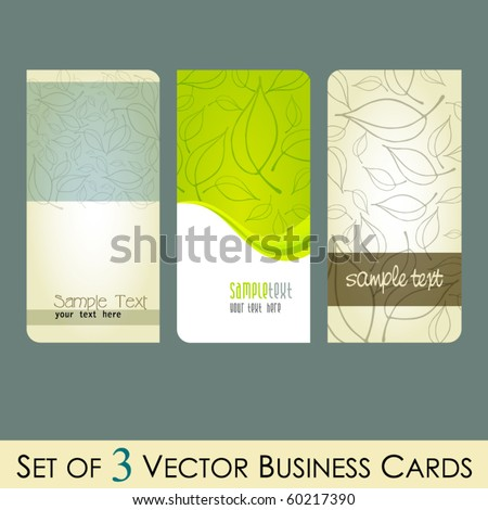 vector set of elegant fresh business cards with leaves - stock vector