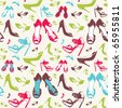 Vector set of elegant shoes illustration seamless pattern - stock vector