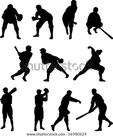 Vector Set of eleven baseball players in silhouette - Set One - stock vector