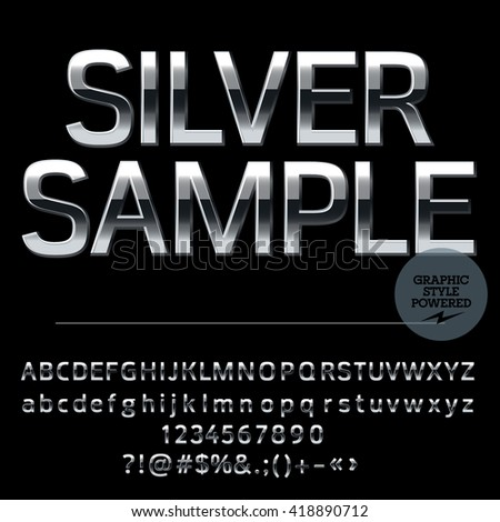 Vector set of elite silver alphabet letters, numbers and punctuation symbols. Compact bold style - stock vector