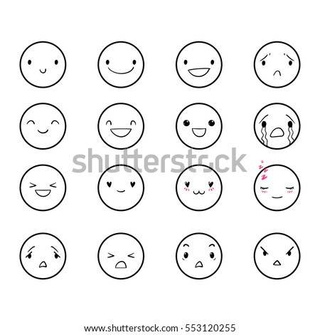 Vector Set Emoticons Doodle Handdrawn Smiley Stock Vector ...