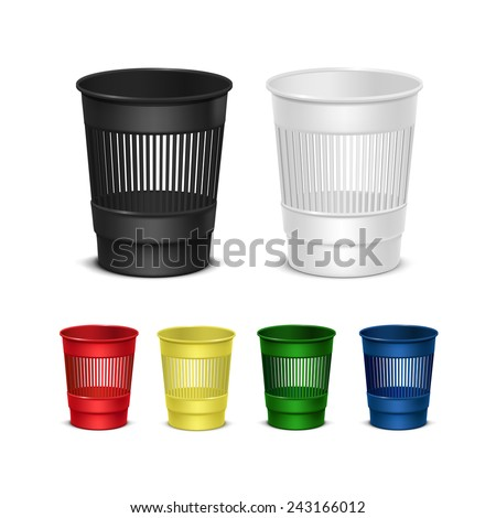 Vector Set of Empty Recycle Bins for Trash and Garbage Isolated on White Background - stock vector