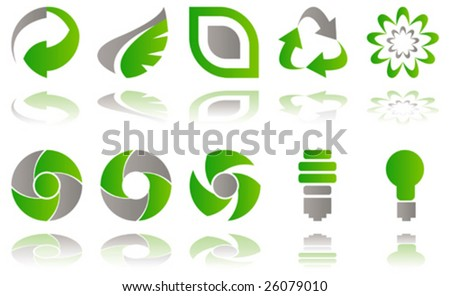 Vector Set of environmental awareness icons isolated on white - stock vector