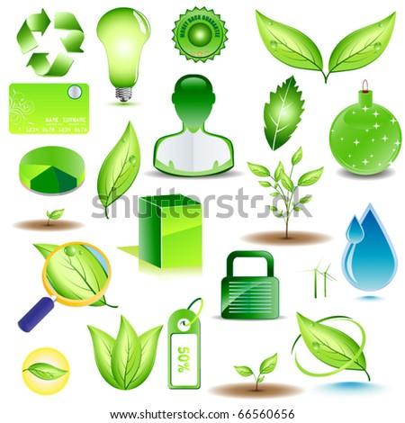 Vector set of environmental designs - stock vector