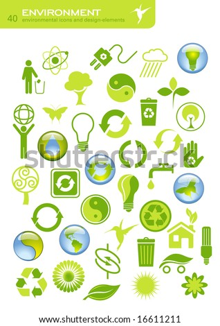 vector-set of 40 environmental icons and design-elements - stock vector