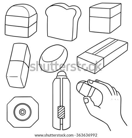 vector set of eraser - stock vector