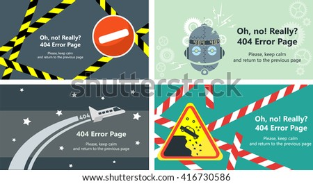 Vector set of 404 error page templates for websites. Text warning message 404 page not found, return to the previous page. Selection of 4 items in one file. Web design elements.