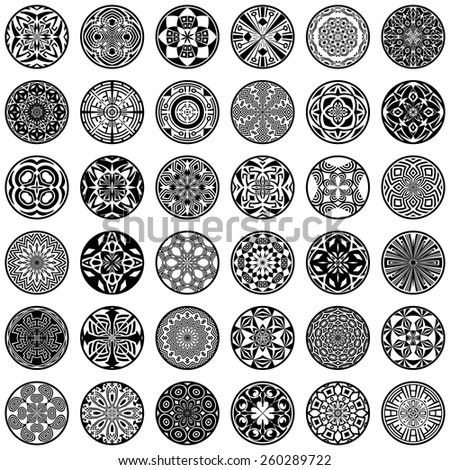 Vector set of ethnic ornamental circles - stock vector