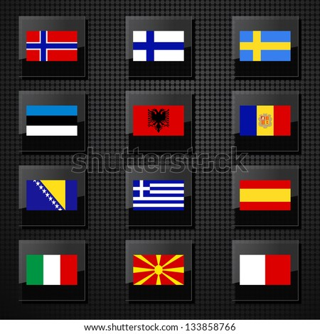 Vector set of Europe countries flags. - stock vector