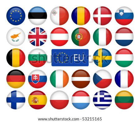 Vector set of European Union web button - stock vector