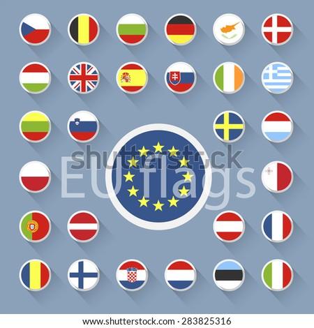 Vector set of European Union web button.Flat design. - stock vector