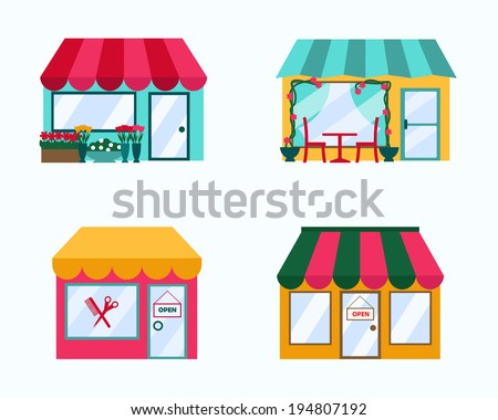 Vector Set Of Exterior Buildings Shop City Elements In Trendy Flat Style Including Flower Cafe
