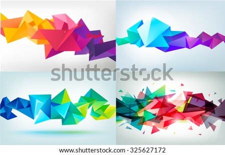 Vector set of faceted 3d crystal colorful shapes, banners. Horizontal banners, crystal banners, faceted colorful banners - stock vector