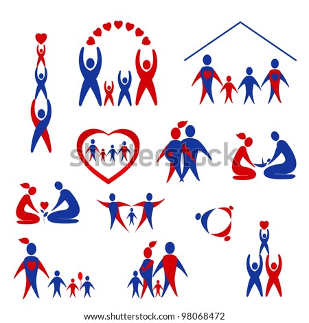 Vector set of family, love icons