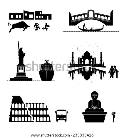 Vector set of famous monuments and travel icons. Travel and tourism icon set.  - stock vector