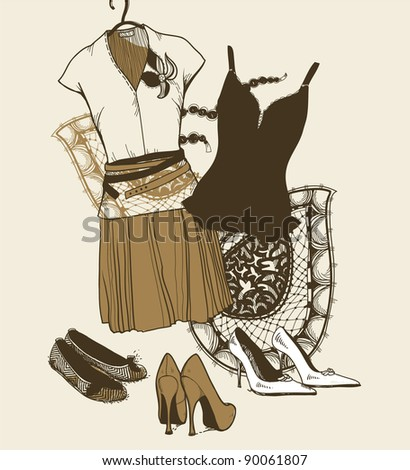 vector set of fashion cloth and shoes - stock vector