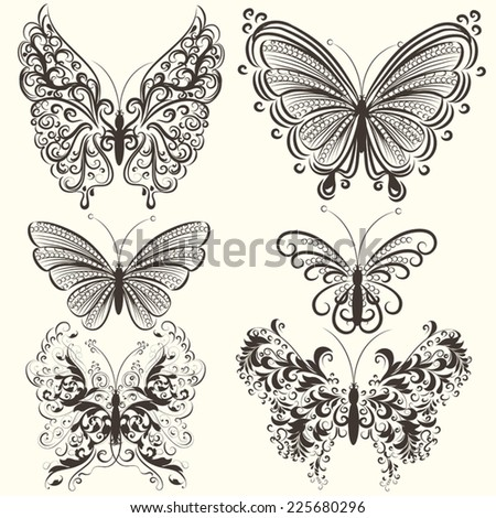 Vector set of filigree beautiful butterflies for design - stock vector