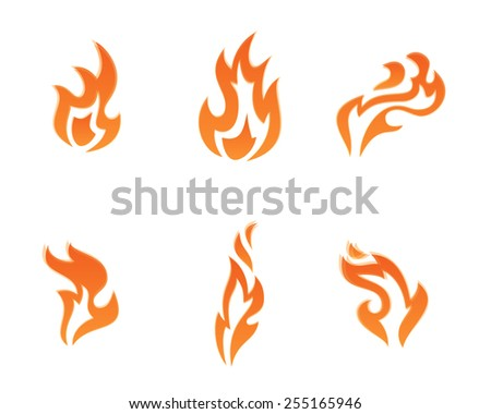 Vector set of fire icons - stock vector