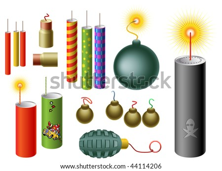 Vector Set Of Firecrackers Of Different Shapes - stock vector
