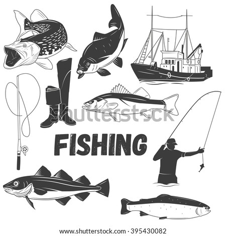Vector set of fishing labels in vintage style. Design elements, emblems, icons, logo and badges. Fish, boat, fishing rod.