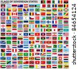 Vector set of Flags of world sovereign states (September 2011). New flags of Libya, South Sudan, Myanmar, Malawi. - stock photo