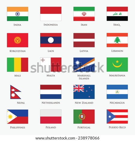 Vector set of Flags  with official colors