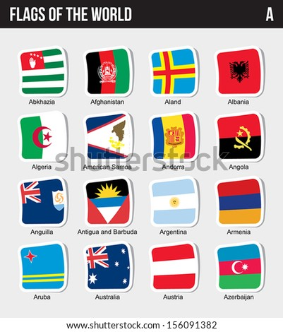 Vector set of Flags world sorted alphabetically. (A)