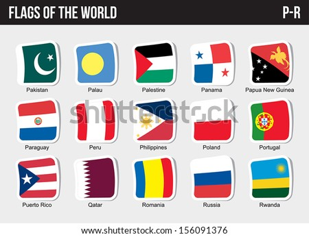 Vector set of Flags world sorted alphabetically. (P-R) - stock vector