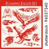 Vector set of flaming eagle illustrations, great for vehicle graphics, stickers and t-shirt decals. - stock vector